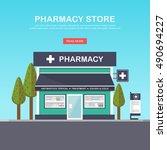 facade of pharmacy in the urban ... | Shutterstock .eps vector #490694227