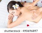 beautiful young woman getting... | Shutterstock . vector #490696897