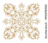 gold vintage baroque element... | Shutterstock .eps vector #490698583