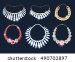 realistic necklaces jewelry... | Shutterstock .eps vector #490702897