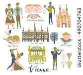 vienna. austria. landmarks and... | Shutterstock .eps vector #490704763