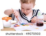 boy draws paints | Shutterstock . vector #49070503