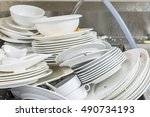 the plate dishes in the kitchen ... | Shutterstock . vector #490734193
