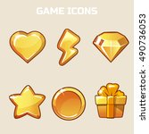 action gold game icons set in...