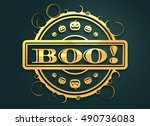 carved stamp with boo text and... | Shutterstock . vector #490736083