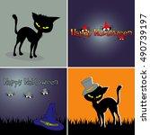 set of four halloween banners... | Shutterstock .eps vector #490739197