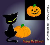 halloween poster  banner or... | Shutterstock .eps vector #490739467