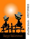 halloween banner with two... | Shutterstock .eps vector #490739803