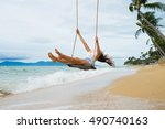 vacation concept. young woman ... | Shutterstock . vector #490740163