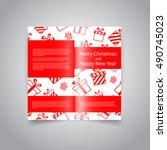 merry christmas vector two fold ... | Shutterstock .eps vector #490745023