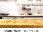 kitchen background and free... | Shutterstock . vector #490771243