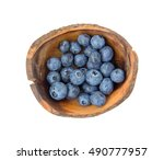 top view of fresh blueberries... | Shutterstock . vector #490777957