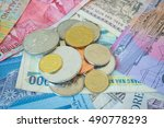 mixed world currency  pile of... | Shutterstock . vector #490778293