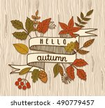 hello autumn  ribbon banner ... | Shutterstock .eps vector #490779457