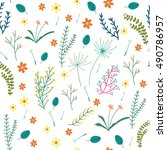 floral seamless pattern with... | Shutterstock .eps vector #490786957