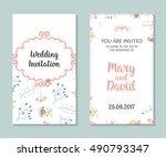 wedding set. romantic vector... | Shutterstock .eps vector #490793347