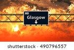 glasgow scotland highway sign... | Shutterstock . vector #490796557