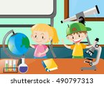 happy students learning in... | Shutterstock .eps vector #490797313