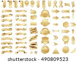 ribbon gold vector icon on... | Shutterstock .eps vector #490809523