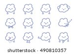 clouds smile. vector clean... | Shutterstock .eps vector #490810357