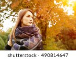 woman autumn portrait in scarf... | Shutterstock . vector #490814647