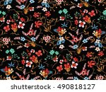 trendy seamless floral pattern... | Shutterstock .eps vector #490818127