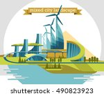 smart city flat. cityscape... | Shutterstock .eps vector #490823923