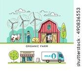 organic farm. milk production.... | Shutterstock .eps vector #490836553