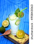 Small photo of Kaffir lime, Bergamot soda Cool drink , Herb for Treatment of Acid Reflux, withcool tone background