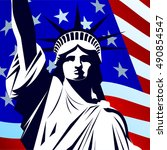statue of liberty on the... | Shutterstock .eps vector #490854547