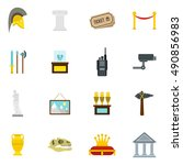 museum icons set in flat style. ... | Shutterstock . vector #490856983