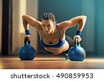 fitness woman training by... | Shutterstock . vector #490859953