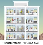 building with cartoon business... | Shutterstock .eps vector #490865563