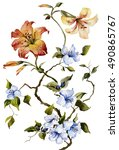 Orange Tiger Lilies And Blue...
