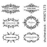 set of modern floral frames.... | Shutterstock .eps vector #490871173