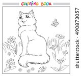 coloring book or page. cat sit... | Shutterstock .eps vector #490873057