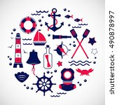 marine travel icons  sailing... | Shutterstock .eps vector #490878997