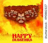 llustration of raavana with ten ... | Shutterstock .eps vector #490882327