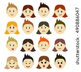 emotions. cartoon facial... | Shutterstock .eps vector #490886047