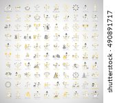 snowman icons set   isolated on ... | Shutterstock .eps vector #490891717