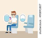 funny red head nerd sitting on... | Shutterstock .eps vector #490891807