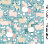 vector seamless pattern with... | Shutterstock .eps vector #490900453