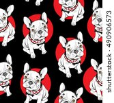 french bulldog  seamless... | Shutterstock .eps vector #490906573