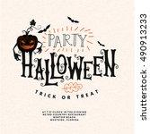 happy halloween lettering.... | Shutterstock .eps vector #490913233
