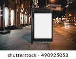 mock up of template bus stop... | Shutterstock . vector #490925053