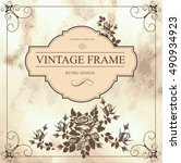 vintage vector card with rose.... | Shutterstock .eps vector #490934923