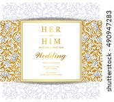 wedding invitation or card with ... | Shutterstock .eps vector #490947283