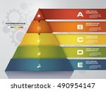 5 steps pyramid with free space ... | Shutterstock .eps vector #490954147