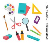 back to school background with... | Shutterstock .eps vector #490968787