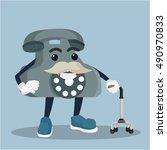 old tetephone holding walking...   Shutterstock .eps vector #490970833